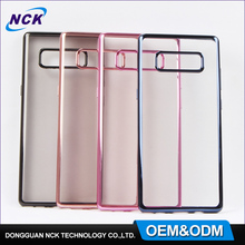 Cheap mobile phone cases custom electroplating tpu case for samsung note8