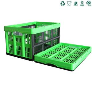 collapsible plastic fruit laundry picnic vented box crate basket with handle