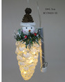 Hand blown glass sowman standing on pine cone with led decorations for christmas tree ornaments