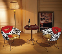 Cow pattern bag red lips backrest lounge chair