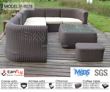 rattan sectional corner sofa l shape recliner sofa with cushion