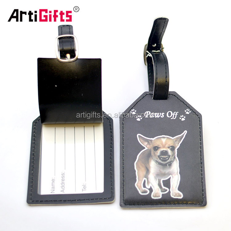 Promotion cheap custom faux leather pu luggage tags with print custom logo