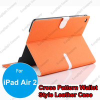 Magnet Design Leather Wallet Flip Case Cover With Credit Card Holder for iPad Air 2,Wallet Type Tablet PC Leather Case
