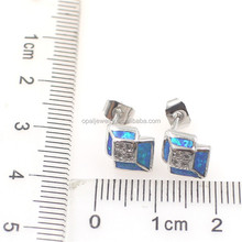Cheap Jewelry Made In China Delicate Blue Opal Silver Plated Earring Designs