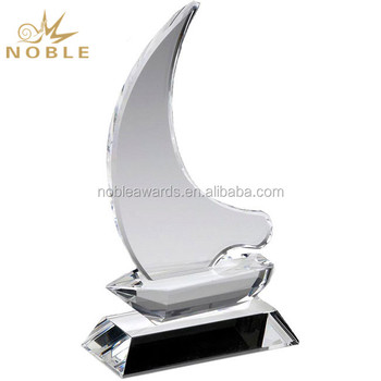 Noble Custom Trophy Crystal Sailboat Award