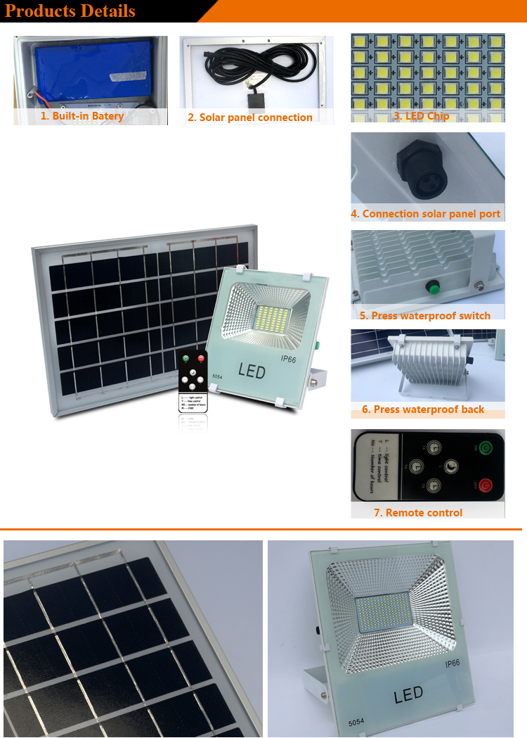 High lumen rechargeable outdoor 50w solar flood light