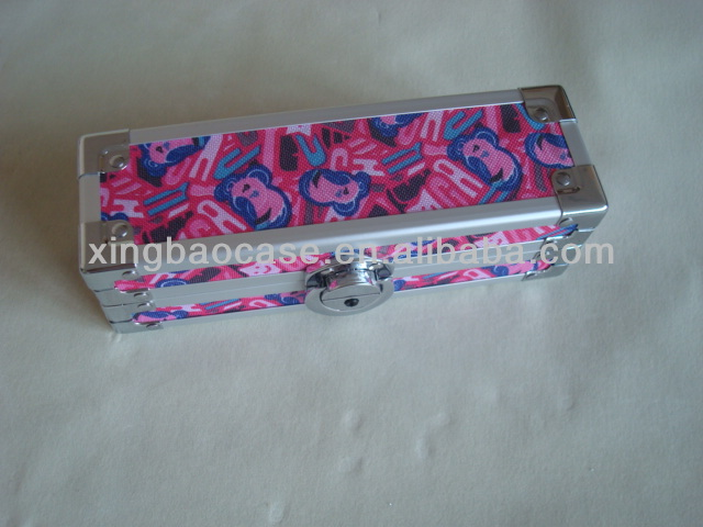 Pink Aluminum pencil box stationery box smart case