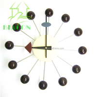 Modern Walnut color wall clock, Ball Clock
