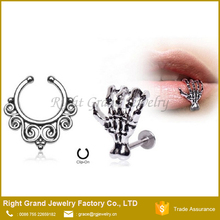 Zombie Claw Labret and Tribal Swirl Non Piercing Fake Septum Hanger
