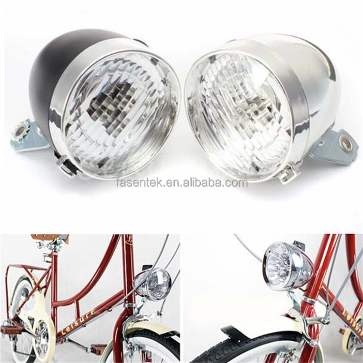 Retro Bicycle Bike 3 LED Front Light Headlight Vintage Flashlight Lamp