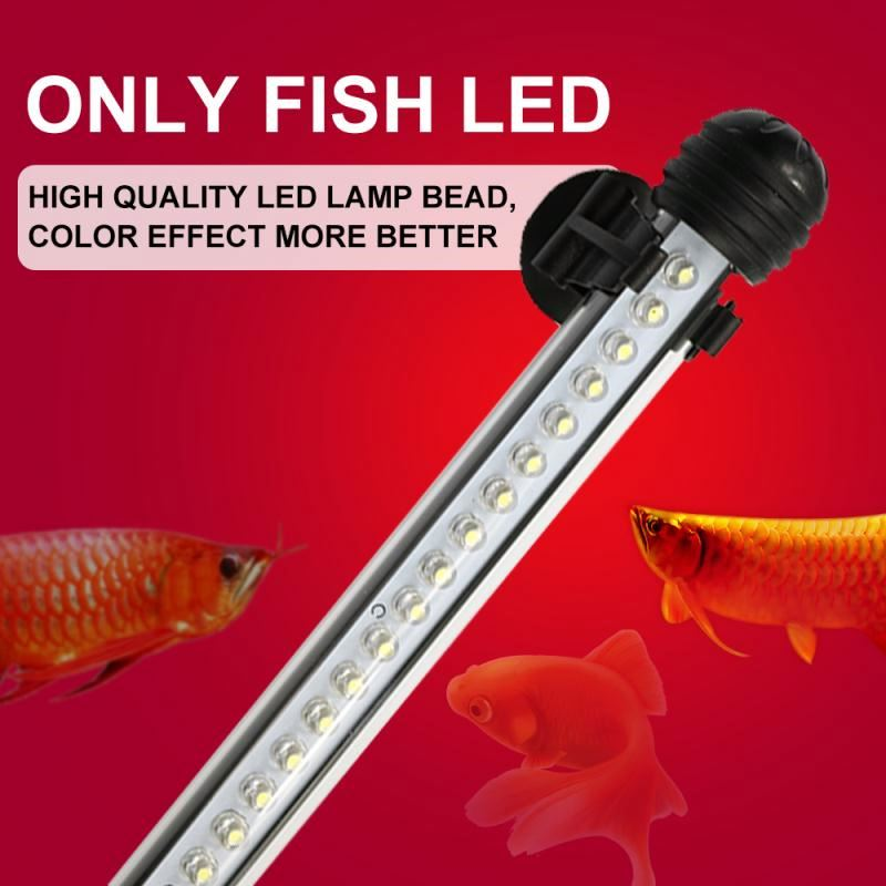 New Aquarium Fish Tank 37cm 6 LED 5050 SMD Blue White Bar Light Underwater Submersible Waterproof Clip Lamp Decoration Lighting