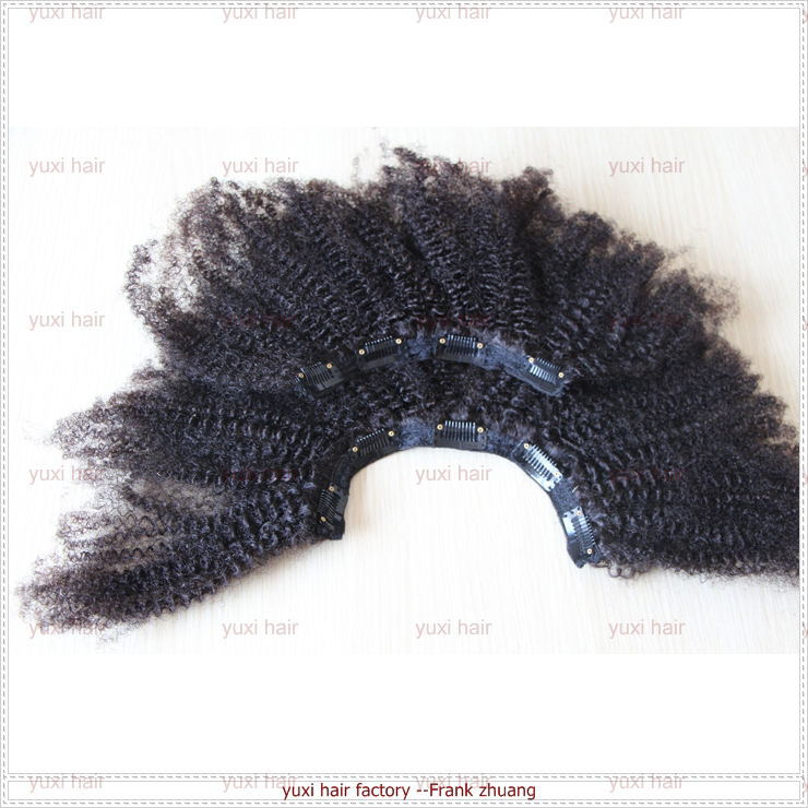 hot selling high quality unprocessed clip in afro kinky curly hair extension