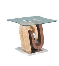 luxury tempered glass coffee side table with wood coffee table