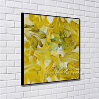 2016 new product abstract bright color yellow flower painting
