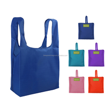 Beegreen Most Popular integrated square pouch 210T Ripstop polyester folding shopping bag