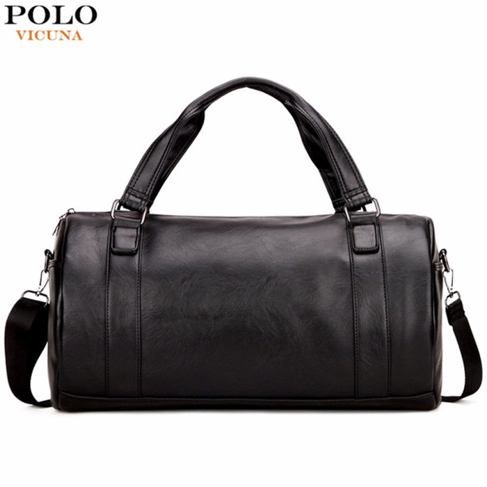 VICUNA POLO Trendy Traveling Bag For Men Large Size Duffle Travel Bags Fashion Men's Round Shaped Black Men's Shoulder Bag V6805