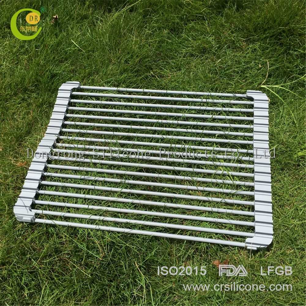 Foldable Over The Sink Roll Up Collapsible Dish Rack Stainless Steel  U003cstrongu003ecutleryu003c
