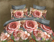 3D Rose Floral Printed Bed Sheet & Cover