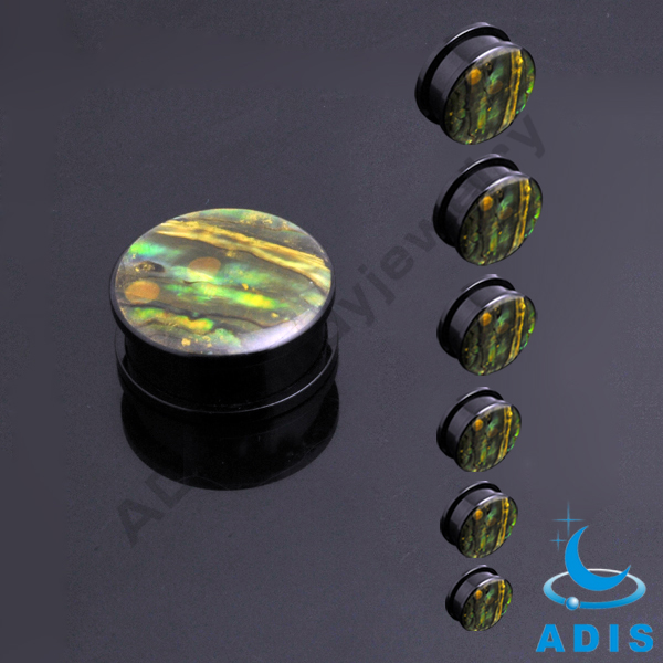 Wholesale 2017 fashion black acrylic ear tunnel plugs body jewelry with logo