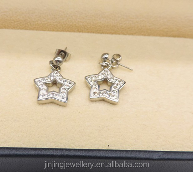 Custom logo hanging design Star shaped studs surgical grade stainless steel earrings