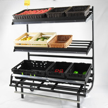 Hot Metallic Produce Display Fruit And Vegetables Rack Supermarket 3 tier Gondola <strong>Shelf</strong> with Price Display