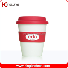 Wholesale 350ml pet cup with silicone band and cover (KL-CP005)