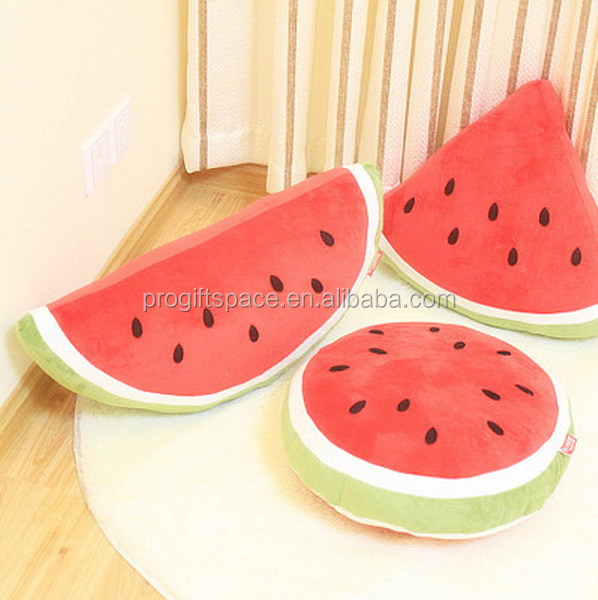 New products decorative cool Watermelon bolster cushion plush round triangle fruit pillow made in china