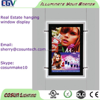 Double sided hanging 3d led slim crystal light box photo frame