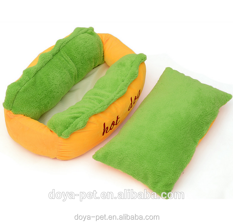 fashion soft stuffed hot dog design pet bed memory foam dog bed with low MOQ