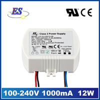 12W 12V 1000mA AC-DC Constant Voltage LED Driver ,UL led driver for LED strip