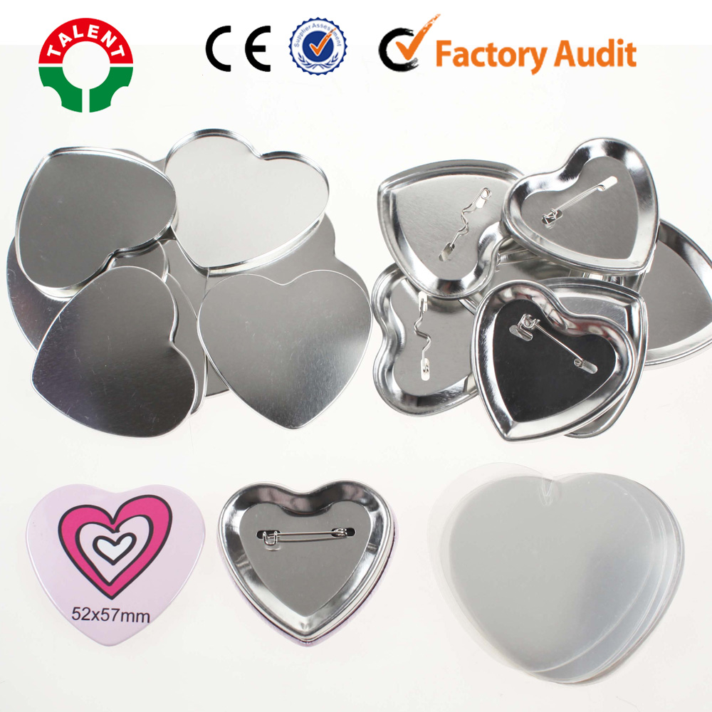 wholesale high quality heart shape DIY metal pin button badge