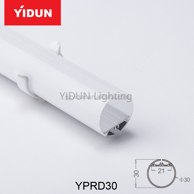 YIDUN Lighting Diameter 30mm round aluminum LED strip suspended light profile with 360 degrees PC opal matte diffuser