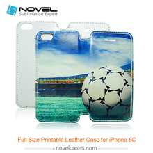 full size sublimation leather phone case for iphone 5c , pu leather + oil sprayed case