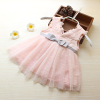2015 Alibaba China Lace Dance Dress V Collar Cheaper Baby Girls Party Dress