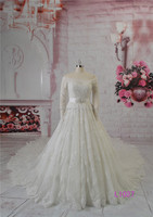 lace boat neck long sleeve ball gown wedding dress long