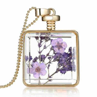 2016 fashionable gold chain with glass transparent herbarium pendant flower necklace