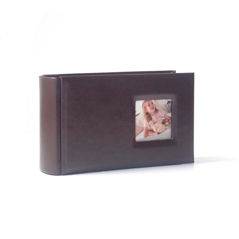 hot small pu materials cover photo albums with window baby photo