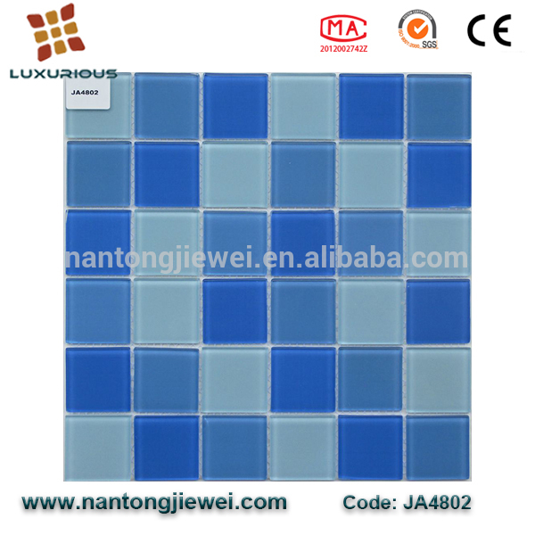 best price gold hexagon mosaic tile Nantong Jiewei Mixed Blue Glass Mosaic Colorful Square for Swimming Pool