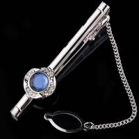 2016 new successful men's best choice metal tie clips with sapphire zirconia jewelry KT2339 MOONSO