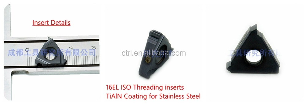 ISO cemented carbide tungsten cutting tool TiAlN coated threading insert