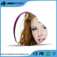 heart style mirror phone portable mobile charger