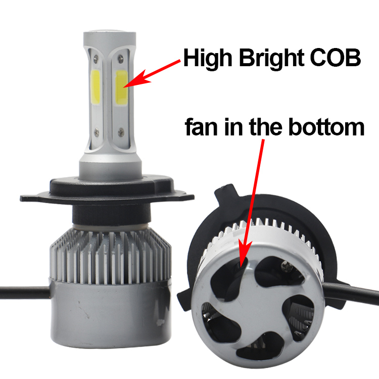 COB chip high power 80w car led headlight h4 led high low beam 6000k