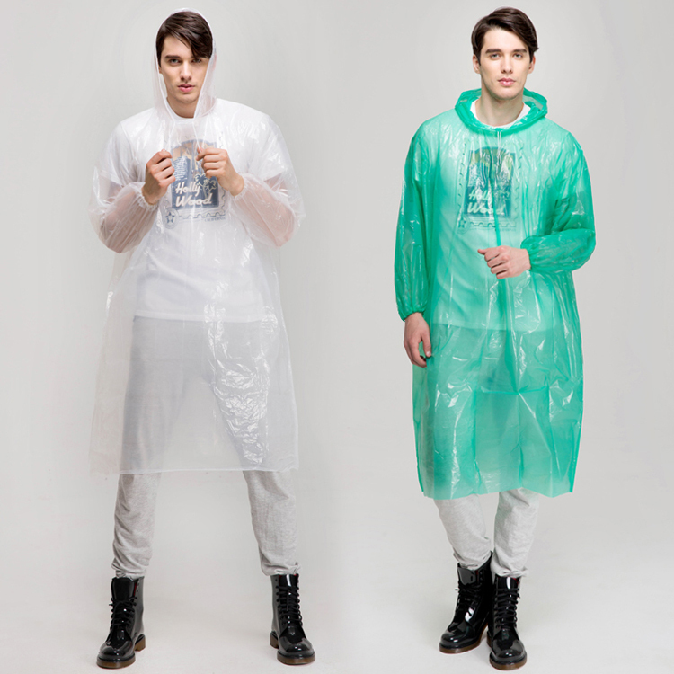 SOS jensen Emergency long PE disposable raincoat with sleeves and hood
