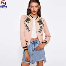 2017 best selling products in usa pink embroidery patch bomber varsity woman jacket