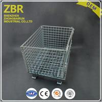 Industrial crate small wire mesh baskets rolling warehouse metal steel container cage
