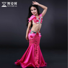 Wuchieal professional belly dance costume for kids children stage dance costume