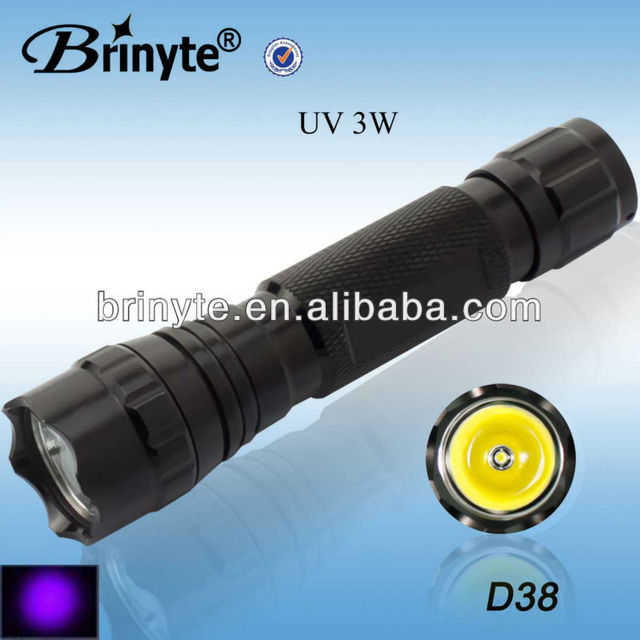 Brinyte Rechargeable Waterproof LED 395nm CREE 3W UV Flashlight