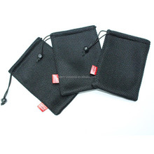 Durable black small nylon mesh gift bag/small drawstring mesh bag