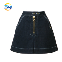 Whloesale ladies stitching denim skirt A line jeans casual mini dress
