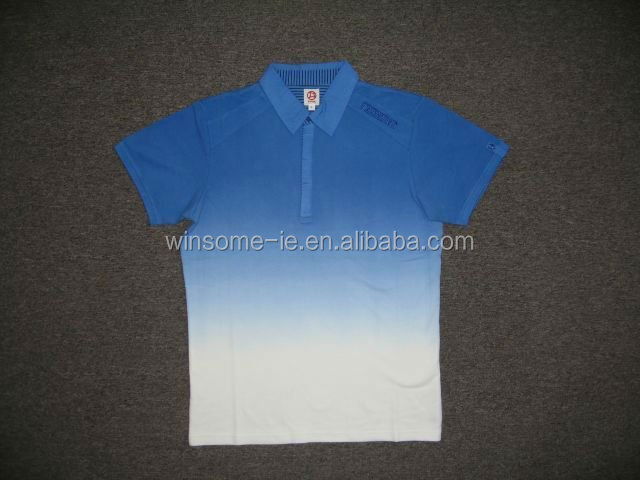 Newest design fashionable mens 100% cotton dip dyed polo shirt